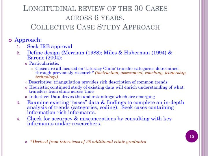 Longitudinal review of the 30 Cases across 6 years,