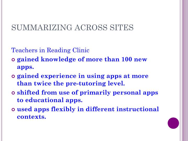 SUMMARIZING ACROSS SITES