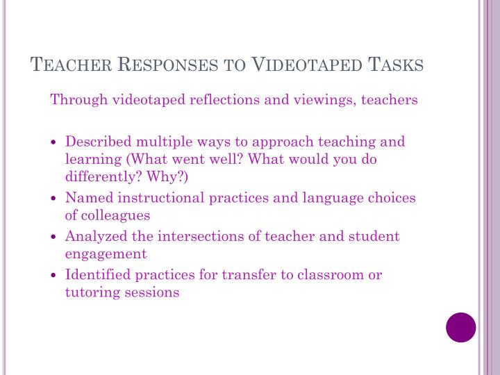 Teacher Responses to Videotaped Tasks