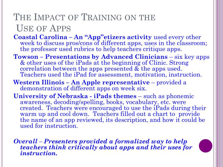 The Impact of Training on the