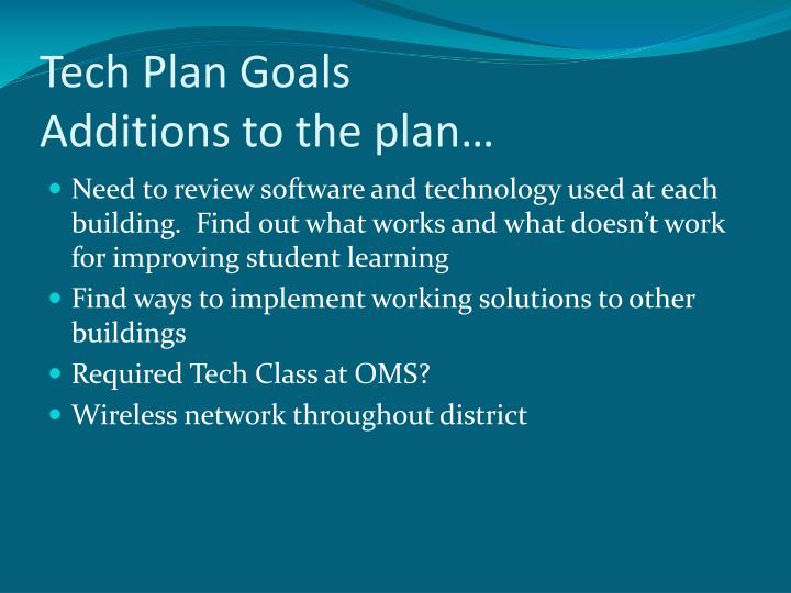 Tech Plan Goals