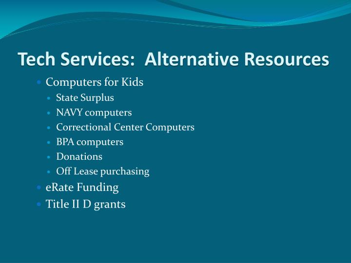Tech Services:  Alternative Resources