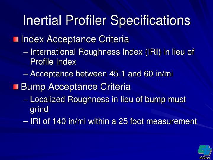 Inertial Profiler Specifications