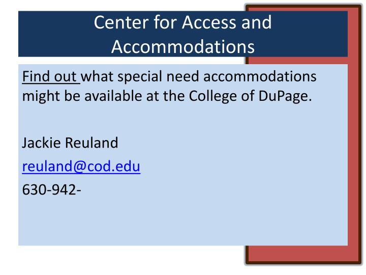 Center for Access and Accommodations