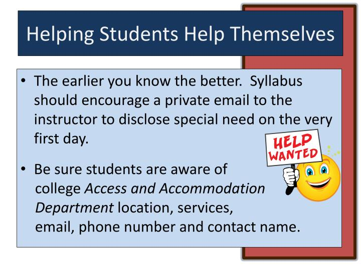 Helping Students Help Themselves