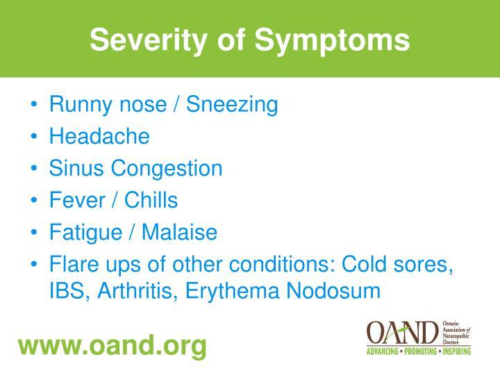 Severity of Symptoms