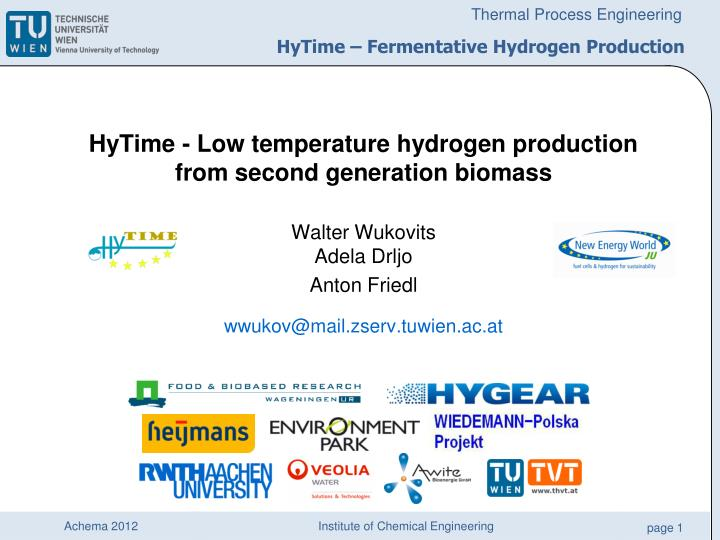 Hytime fermentative hydrogen production