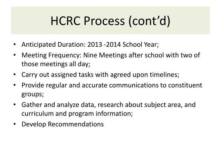 HCRC Process (cont'd)