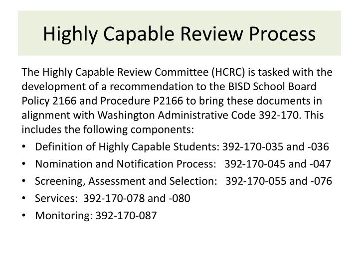 Highly Capable Review Process