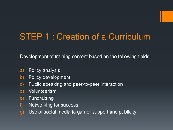 STEP 1 : Creation of a Curriculum