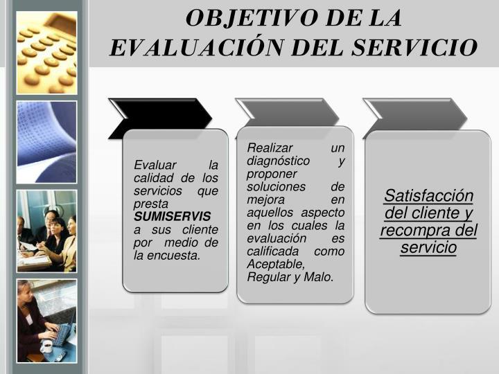 OBJETIVO DE LA EVALUACIÓN DEL SERVICIO