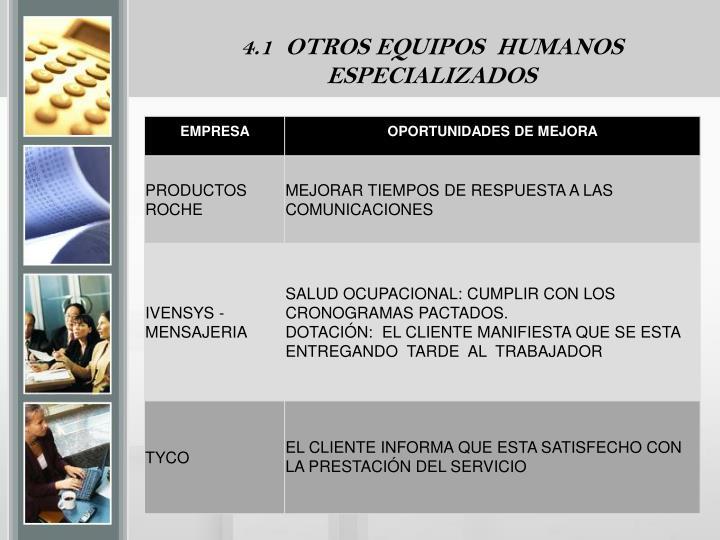 4.1  OTROS EQUIPOS  HUMANOS
