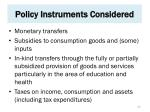 policy instruments considered