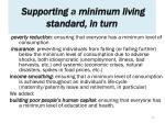 supporting a minimum living standard in turn