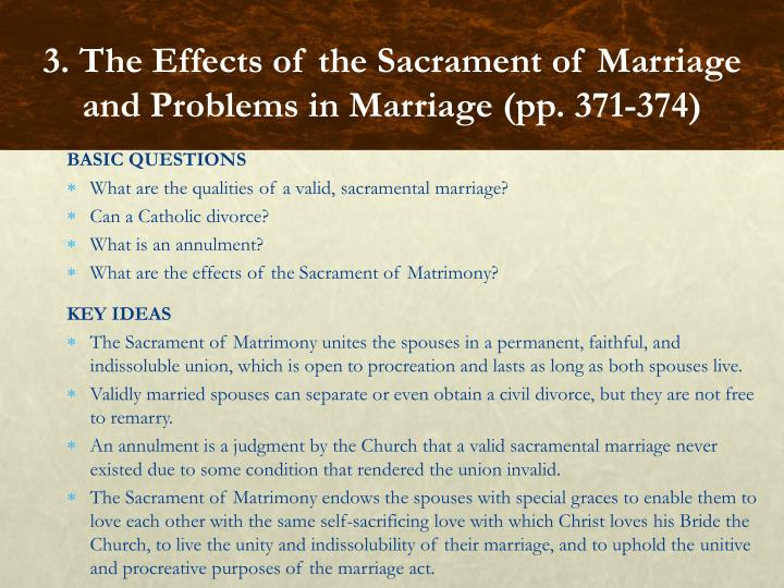 3. The Effects of the Sacrament of Marriage and Problems in Marriage (pp. 371-374)