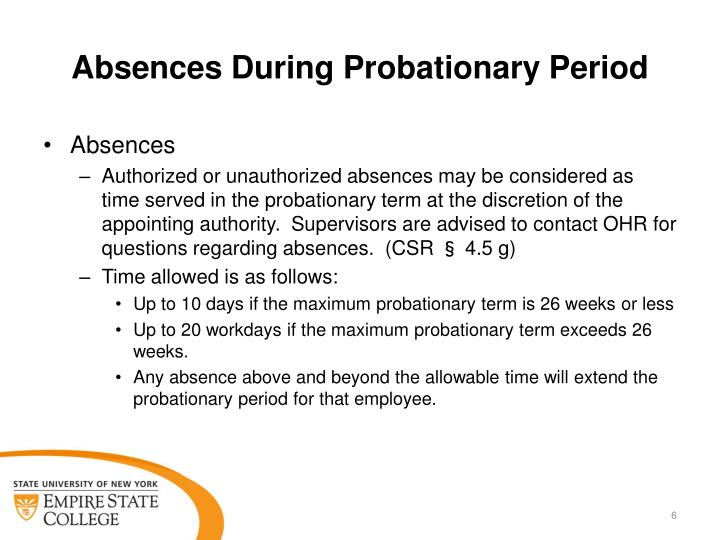Absences During Probationary Period