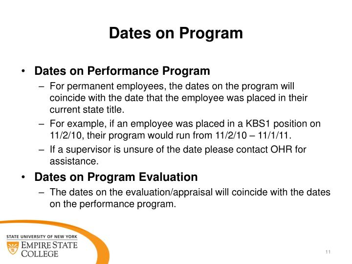 Dates on Program