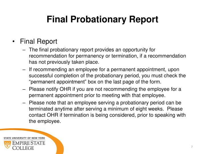 Final Probationary Report