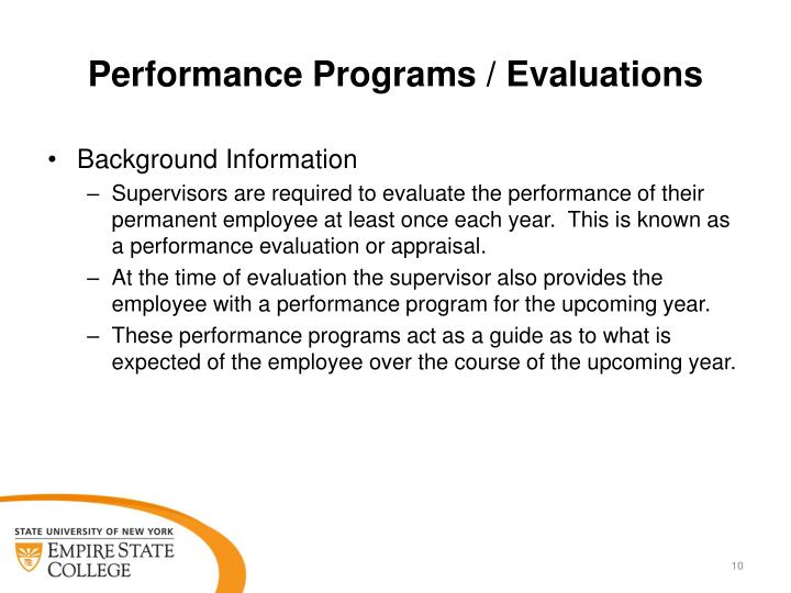 Performance Programs / Evaluations