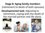stage 8 aging family members retirement to death of both spouses