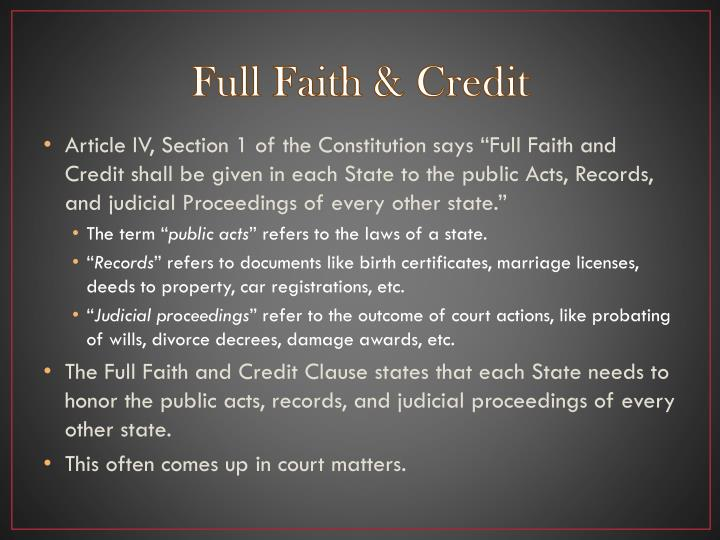 Full Faith & Credit