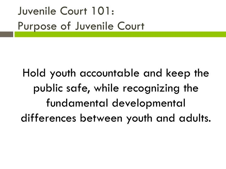 Juvenile court 101 purpose of juvenile court