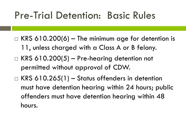 Pre-Trial Detention:  Basic Rules