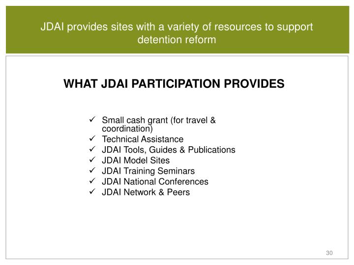 JDAI provides sites with a variety of resources to support detention reform