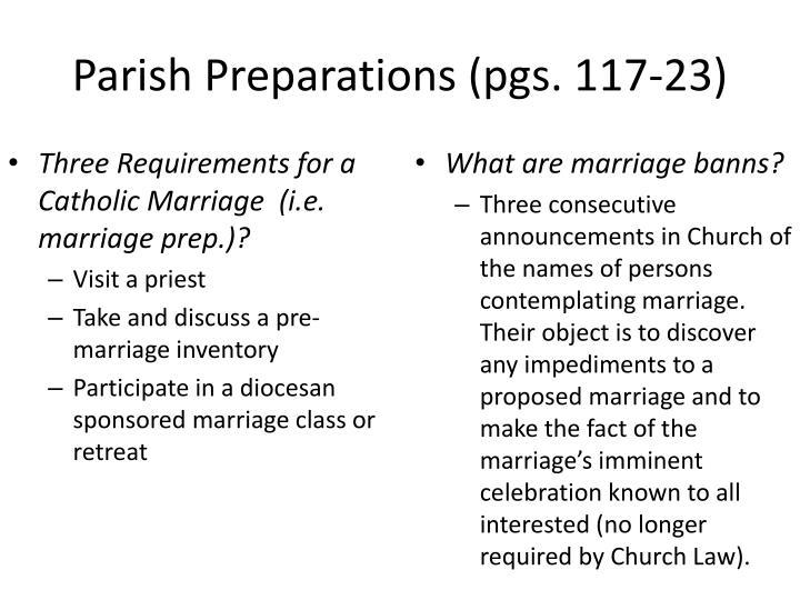 Parish Preparations (pgs. 117-23)