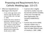 proposing and requirements for a catholic wedding pgs 113 171