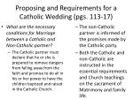 proposing and requirements for a catholic wedding pgs 113 172