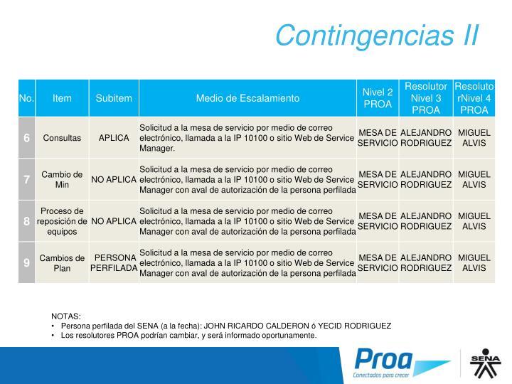 Contingencias II