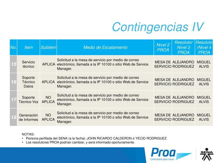 Contingencias IV