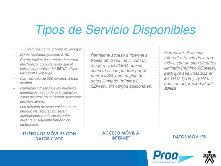 Tipos de Servicio Disponibles