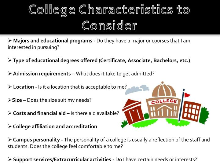 College Characteristics to Consider