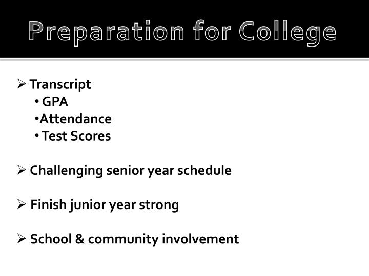 Preparation for College