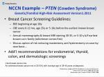 nccn example pten cowden syndrome genetic familial high risk assessment version1 2011