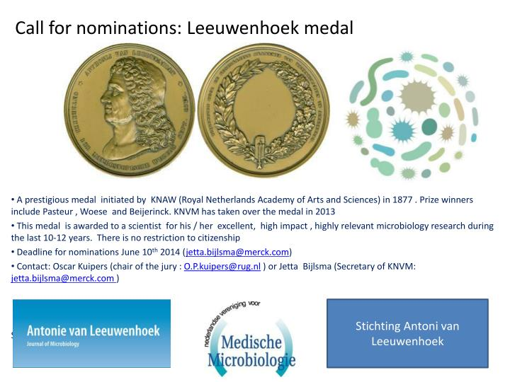 Call for nominations leeuwenhoek medal