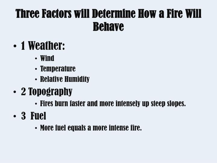 Three Factors will Determine How a Fire Will Behave