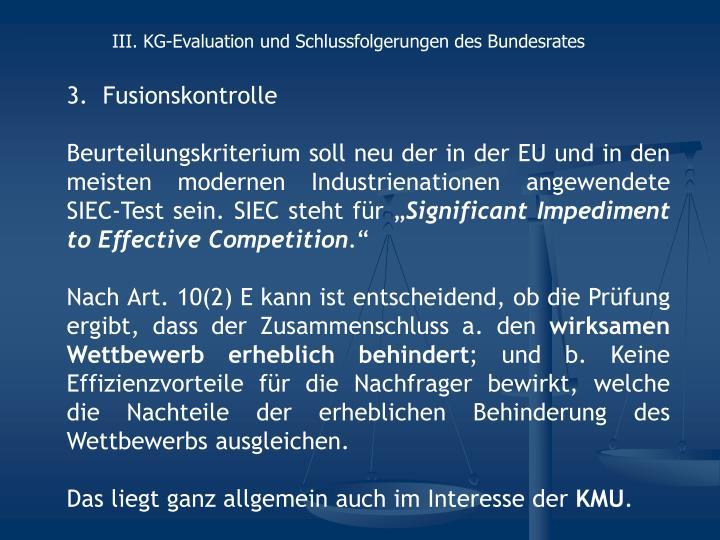 III. KG-Evaluation und Schlussfolgerungen des Bundesrates