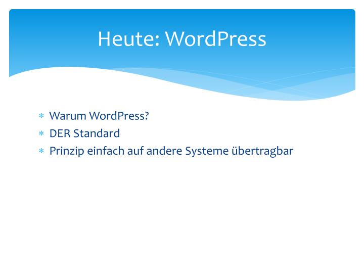 Heute wordpress