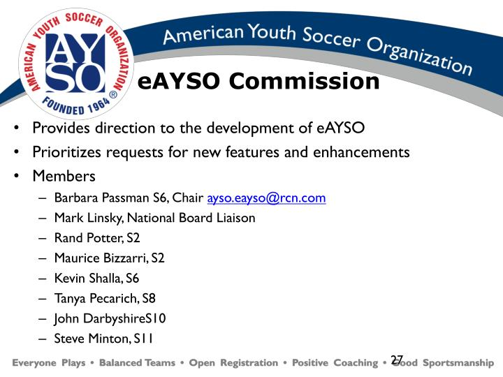 Provides direction to the development of eAYSO