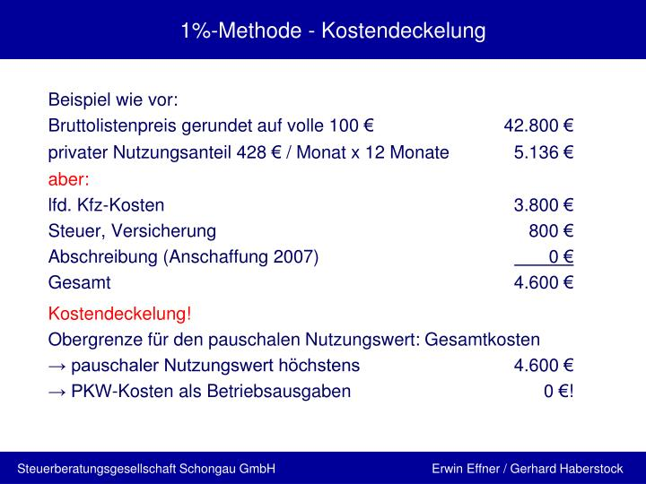 1%-Methode - Kostendeckelung
