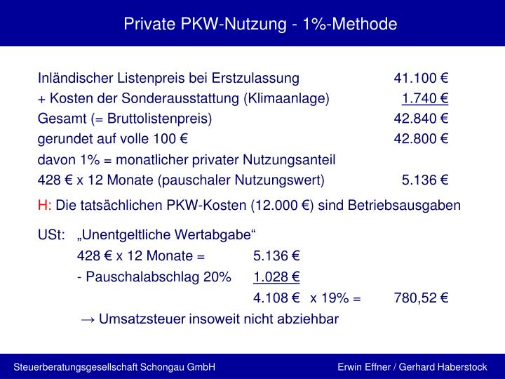 Private PKW-Nutzung - 1%-Methode