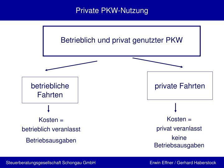 Private pkw nutzung