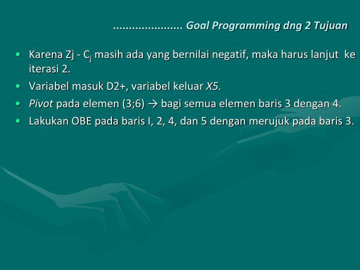 ...................... Goal Programming dng 2 Tujuan