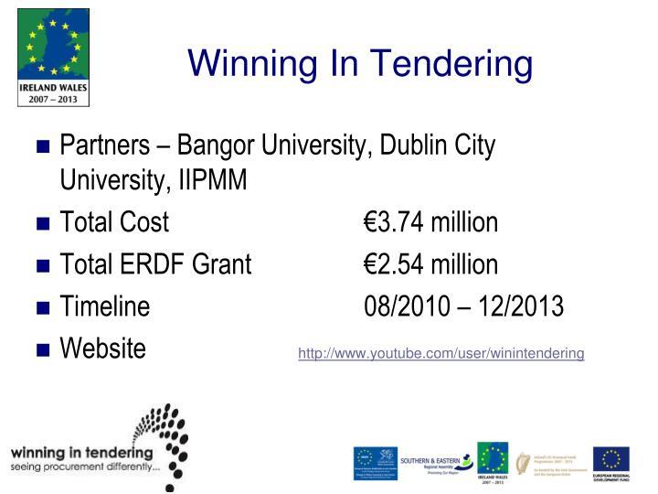 Winning In Tendering