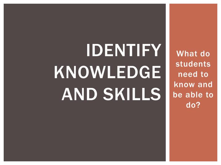 Identify Knowledge and skills