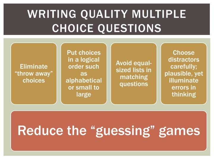 Writing Quality Multiple Choice Questions