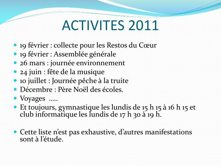 ACTIVITES 2011